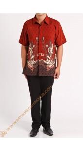 Kemeja Semi Silk Merah