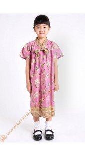 Dres Anak Model Pita 1 Dada Motif Bunga Warna Pink