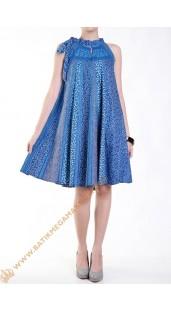 Dres Batik Model Klok Tanpa Lengan Nuansa Biru