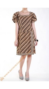 Dres Batik Katun Model Dres Potong Pinggang Tangan Klok Nuansa Coklat