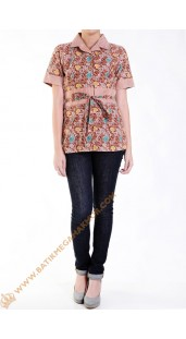 Blus Batik Katun Model Obin Nuansa Orange