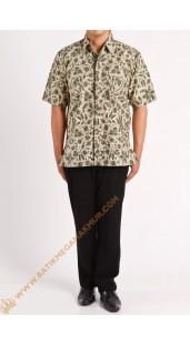 Kemeja katun batik motif kecil warna cream