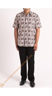 Kemeja katun batik motif wayang