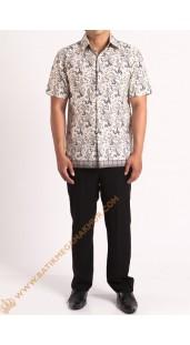 Kemeja katun batik motif bambu
