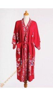 Kimono Bahan Shantung Dasar Merah