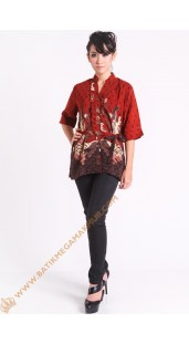 Blus semi silk warna merah
