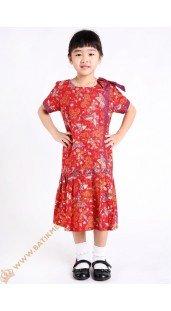 Dres Katun Model Potong Pinggang Motif Kupu Kupu Warna Merah