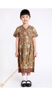 Dres Anak Katun Model Leher V Tangan Balon Motif Bunga Warna Coklat