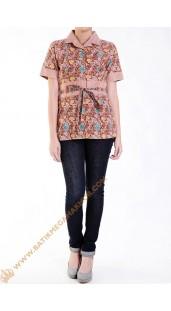 Blus Batik Katun Model Obin Nuansa Orange